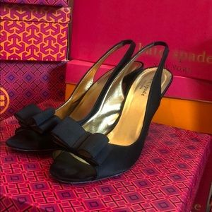 Kate Spade Celeste black/satin bow heels